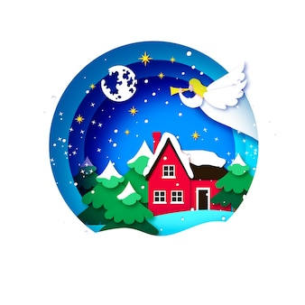 Kartka merry christmas greetings z białym aniołem i zieloną choinką. ferie. szczęśliwego nowego roku. gwiazdy i księżyc. krajobraz z wiejskim domem. okrągła ramka w stylu cięcia papieru.