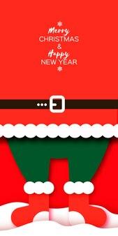Kartka merry christmas greetings z filcowymi butami mikołaja. szczęśliwego nowego roku w stylu papercraft. czerwony. ferie.