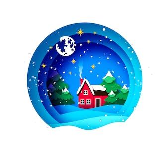 Kartka merry christmas greetings z pięknym krajobrazem i zieloną choinką. ferie. szczęśliwego nowego roku. gwiazdy i księżyc. czerwony dom na wsi. okrągła ramka bombka w stylu wycinanym z papieru.