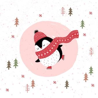 Kartka merry christmas z pingwinem na łyżwach na świeżym powietrzu w zimowym lesie