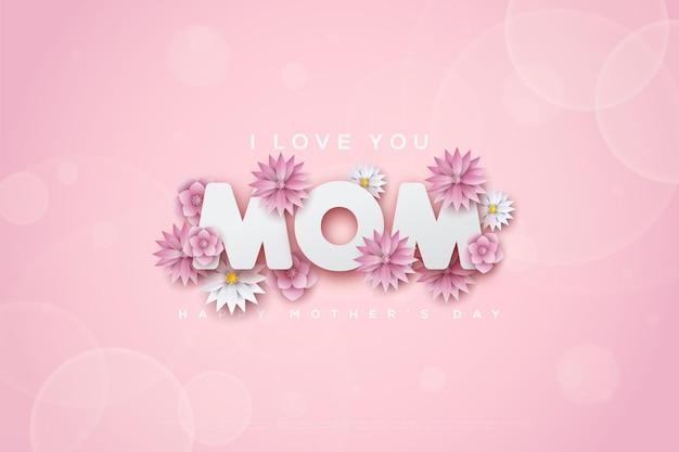 Kartka na dzień matki z kwiatkiem dołączonym do napisu.