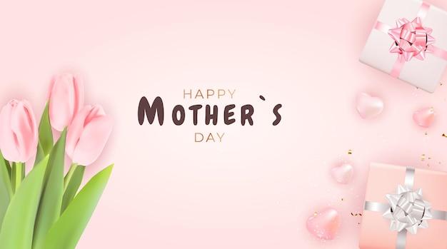 Kartka na dzień matki z realistycznymi kwiatami tulipanów.