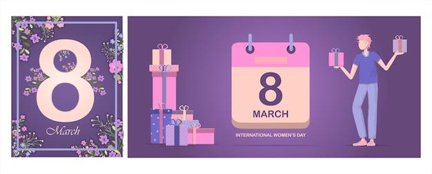Kartka na międzynarodowy dzień matki ilustracja wektorowa na marsz z kwiatami i pozdrowieniami ba...