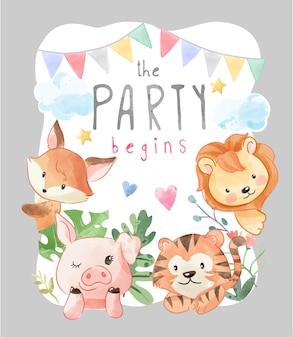 Kartka na przyjęcie z kolorową ilustracją przyjaciół dzikich zwierząt