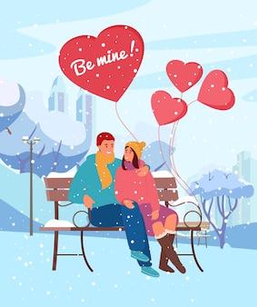 Kartka na walentynki. ilustracja para zakochanych siedzi w winter park na śnieżnej ławce z balonami w kształcie serca pod opadami śniegu.