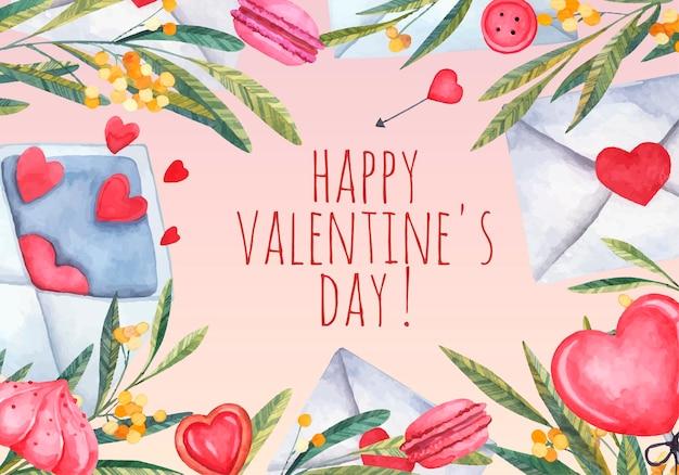 Kartka na walentynki, karta miłości z kwiatami akwareli i konaerty, słodycze