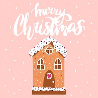 Kartka noworoczna świąteczny domek z piernikanapis wesołych świąt
