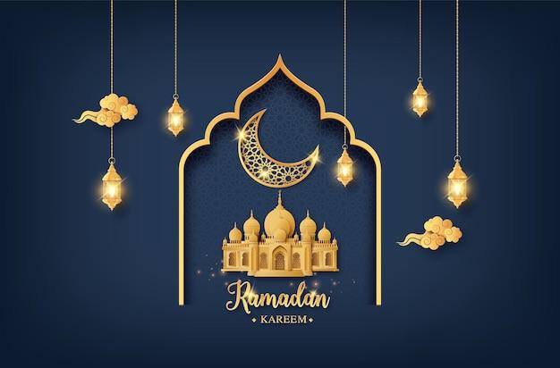 Kartka okolicznościowa ramadan kareem z meczetem i złotym błyszczącym księżycem z latarnią, wycinana z papieru