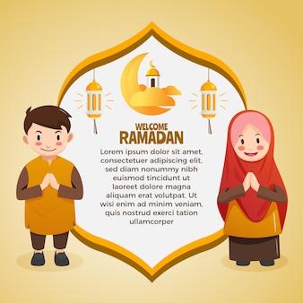 Kartka okolicznościowa ramadan z uroczym chłopcem i dziewczyną muzułmańską