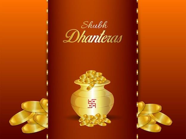 Kartka okolicznościowa shubh dhanteras z kreatywnym puli złotej monety