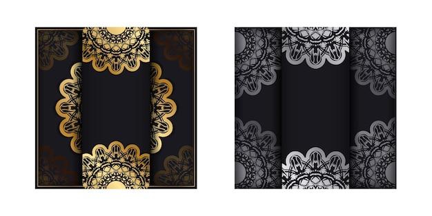 Kartka okolicznościowa w kolorze czarnym z mandalą w złotym wzorze przygotowana do nadruku.