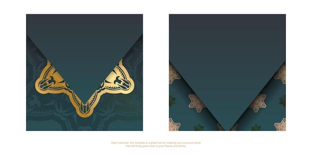 Kartka okolicznościowa z gradientem koloru zielonego ze złotym ornamentem mandala przygotowana do nadruku.