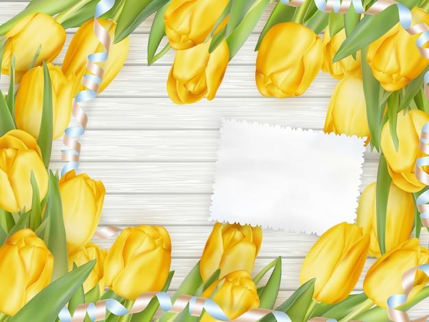 Kartka papierowa z tulipanami.