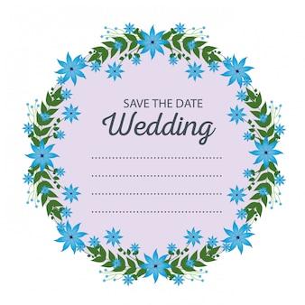 Kartka ślubna i rama z kwiatów i gałęzi liści