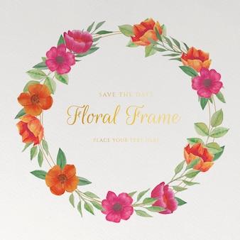 Kartka ślubna z akwarelowymi kwiatami