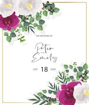 Kartka ślubna z białymi i fioletowymi kwiatami orchidei. dekoracje z zielonych liści