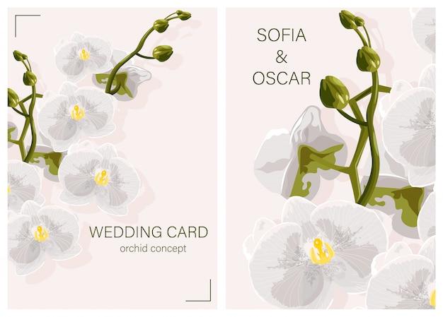 Kartka ślubna z białymi kwiatami orchidei koncepcji i miejsce dla tekstu