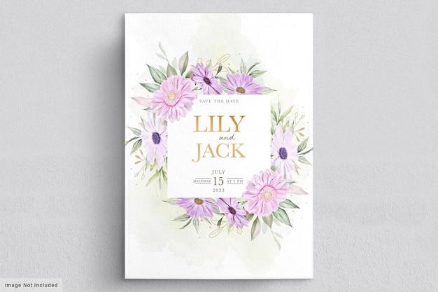 Kartka ślubna z miękkim kwiatem chryzantemy