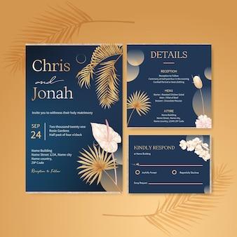 Kartka ślubna z pampasami kwiatowy akwarela