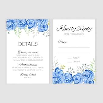Kartka ślubna z ręcznie malowaną akwarelą niebieską różą