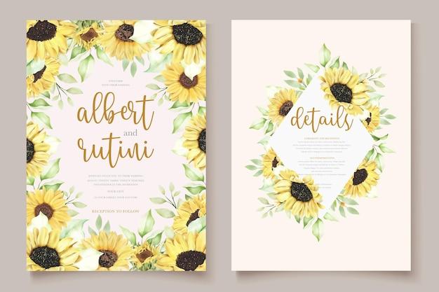 Kartka ślubna z ręcznie rysowanym słonecznikiem akwarelowym