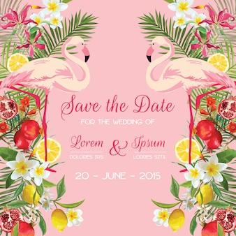 Kartka ślubna zapisz datę z tropikalnymi kwiatami, owocami, ptakiem flamingiem. kwiatowe tło
