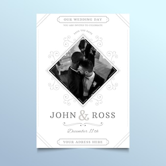 Kartka ślubna ze zdjęciem pary mężczyzn