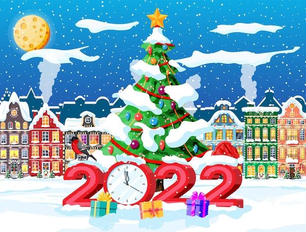 Kartka świąteczna 2022 z krajobrazem miejskim i opadami śniegu. pejzaż z kolorowymi domami ze śniegiem w dzień. zimowa wioska przytulne miasto panorama miasta. nowy rok boże narodzenie banner xmas. ilustracja wektorowa płaskie