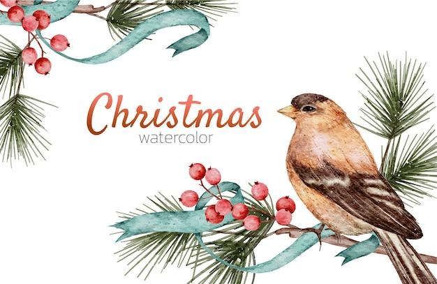 Kartka świąteczna akwarela ręcznie malowana