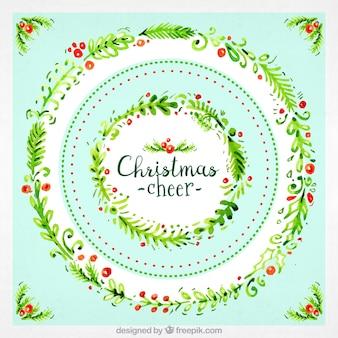 Kartka świąteczna akwareli wieniec