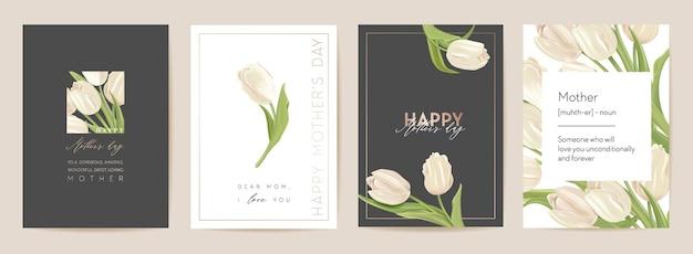 Kartka świąteczna dzień matki. ilustracja wektorowa kwiatowy wiosna. powitanie realistyczny szablon kwiatów tulipanów, nowoczesne tło kwiatowe, pocztówka mama i dziecko, nowoczesny projekt letniego przyjęcia, okładka dla matek