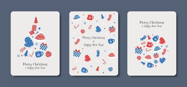 Kartka świąteczna i noworoczna w prostym stylu w niebiesko-czerwonych kolorach