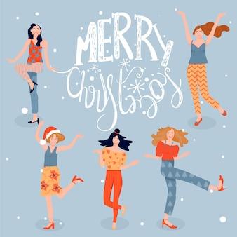 Kartka świąteczna i szczęśliwego nowego roku z tańczącymi dziewczynami taniec kobiet na przyjęciu bożonarodzeniowym