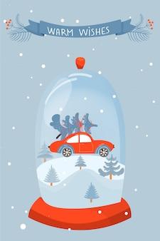 Kartka świąteczna i szczęśliwego nowego roku.
