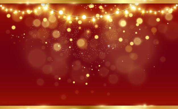 Kartka świąteczna. idealny szablon na pozdrowienia. kartka świąteczna z girlandami i płatkami śniegu.