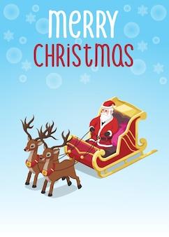 Kartka świąteczna ilustracja izometryczny mikołaj jeździć wózkiem