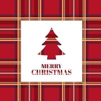 Kartka świąteczna. jasne drzewo xmas z szkocką teksturą.