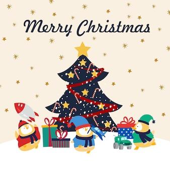Kartka świąteczna kaczątka