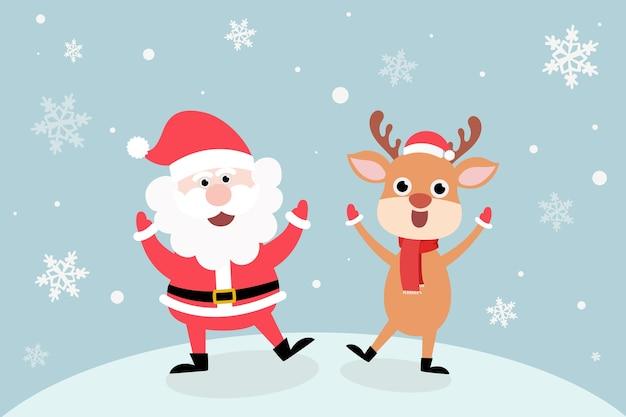 Kartka świąteczna. kartkę z życzeniami szczęśliwego nowego roku, śnieg z ślicznym mikołajem i reniferem w czapkach mikołaja, zimowe nakrycia głowy. witaj zimo, szczęśliwego nowego roku i wesołych świąt,.