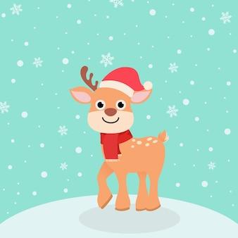 Kartka świąteczna. kartkę z życzeniami ze śniegiem i kreskówki jeleń w czapkach mikołaja, zimowe nakrycia głowy. witam zimę i wesołych świąt!