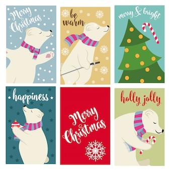 Kartka świąteczna kolekcja z niedźwiedzi polarnych i życzenia