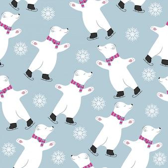 Kartka świąteczna kolekcja z niedźwiedzi polarnych skating