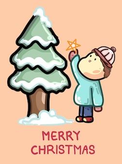 Kartka świąteczna ładny chłopiec stojący obok ośnieżonej sosny