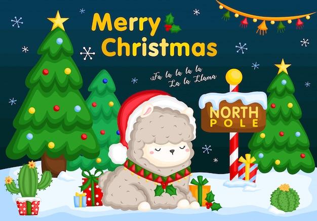 Kartka świąteczna lama