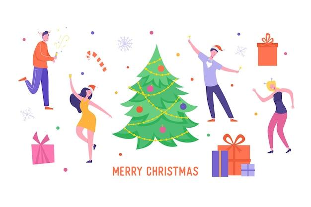 Kartka świąteczna lub plakat z zaproszeniem. postacie ludzi tańczą, świętują wesołych świąt i szczęśliwego nowego roku.