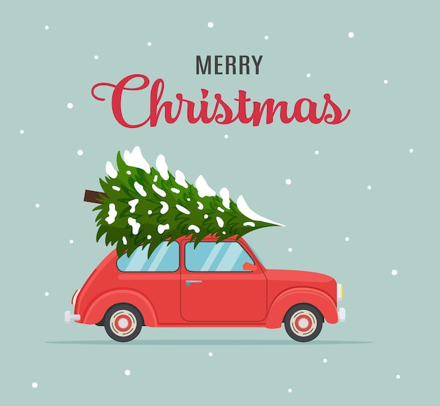 Kartka świąteczna lub projekt plakatu z retro czerwienią z choinką na pokładzie. szablon na przyjęcie noworoczne lub zaproszenie na imprezę lub ulotkę. ilustracja wektorowa w stylu płaski