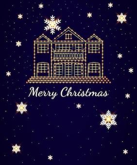 Kartka świąteczna na ciemnym tle duży dom ozdobiony jasnymi girlandami