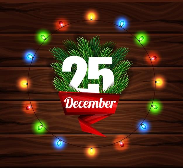Kartka świąteczna na tle ciemnych desek.