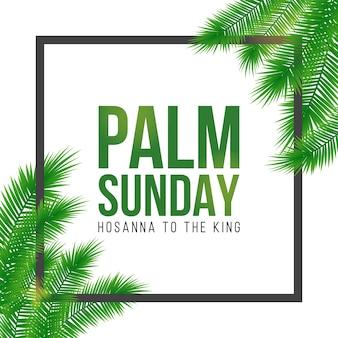 Kartka świąteczna niedziela palmowa, plakat z realistyczną obwódką liści palmowych, ramka. tło.