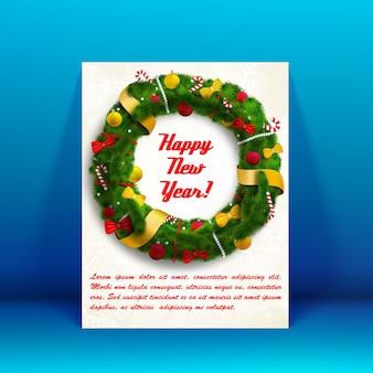 Kartka świąteczna noworoczna z polem tekstowym i płaską ilustracją zdobionego wieńca